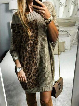 Kleurblok Geribbeld luipaard Ronde Hals Casual Lang Sweaterjurk