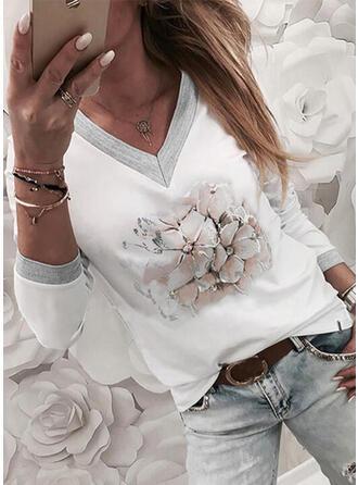 Bloemen Print V-hals Lange Mouwen T-shirts