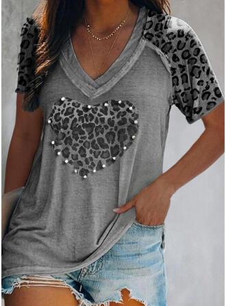 Met Kralen luipaard Hart V-hals Korte Mouwen T-shirts