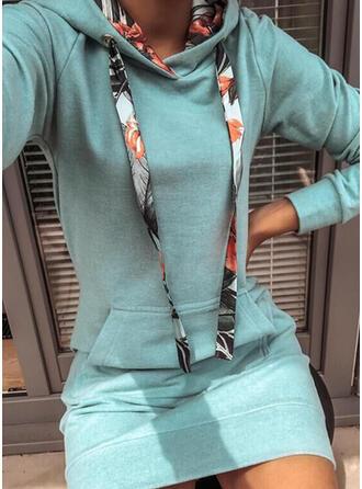 Solide Lange Mouwen Koker Boven de knie Casual Sweatshirts Jurken