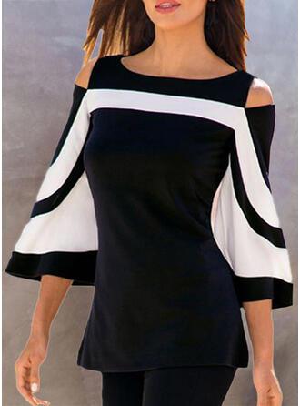 Kleurblok Cold Shoulder Flare Mouw 3/4 Mouwen Casual Overhemd