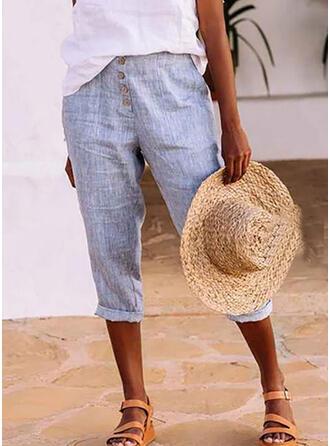 Solide Shirred Grote maat Casual Gewoon Lounge broek
