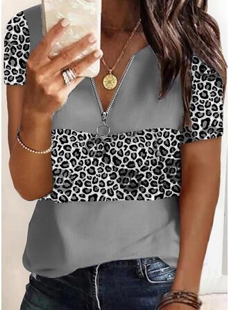 luipaard V-hals Korte Mouwen Casual Overhemd