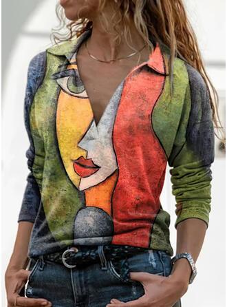 Print Revers Lange Mouwen Casual Overhemd