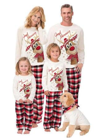 Rendier Plaid Letter Print Voor Gezinnen Kerst Pyjamas