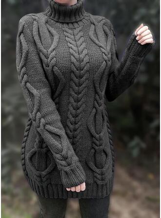 Solide Kabel-gebreid Grof gebreid Coltrui Casual Lang Sweaterjurk