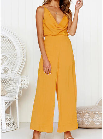 Solide V-hals Mouwloos Casual Sexy Jumpsuit