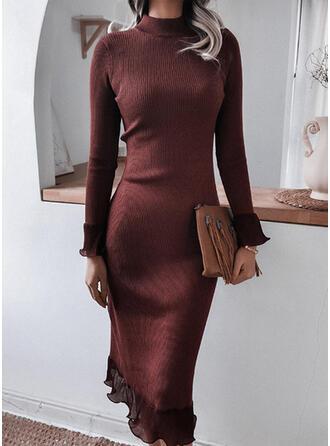 Solide Opstaande Kraag Casual Lang Sweaterjurk