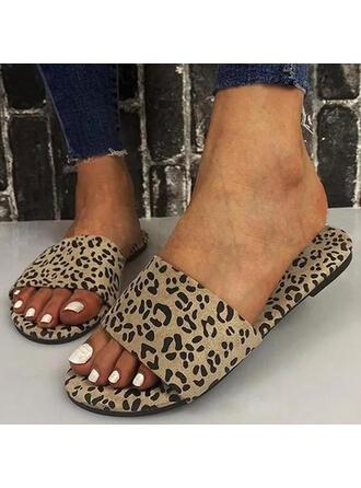 Vrouwen PU Flat Heel Sandalen Flats Peep Toe Slippers met Dier Afdrukken Hol-out schoenen