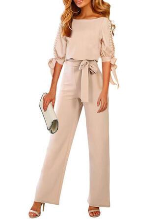 Solide Ronde Hals 1/2 Mouwen Casual Elegant Jumpsuit