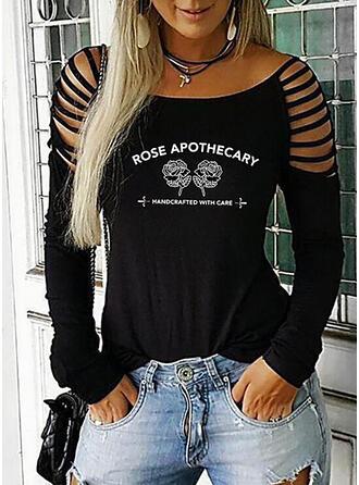 Print Bloemen Figuur Cold Shoulder Lange Mouwen Casual Overhemd