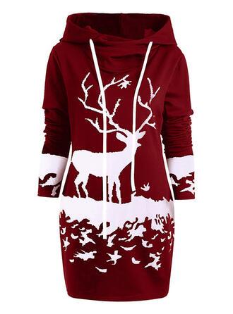 Dierenprint Lange Mouwen Koker Boven de knie Kerstmis/Casual Sweatshirts Jurken