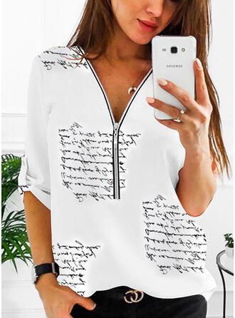 Print V-hals 1/2 Mouwen Casual Overhemd
