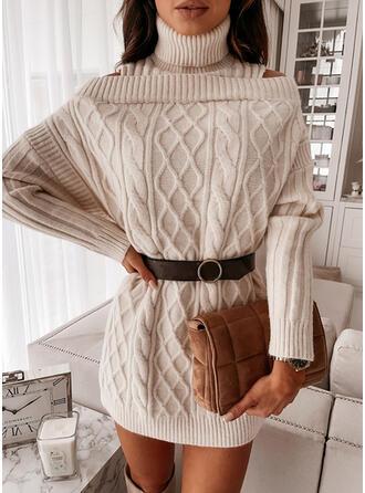 Solide Kabel-gebreid Coltrui Casual Lang Sweaterjurk