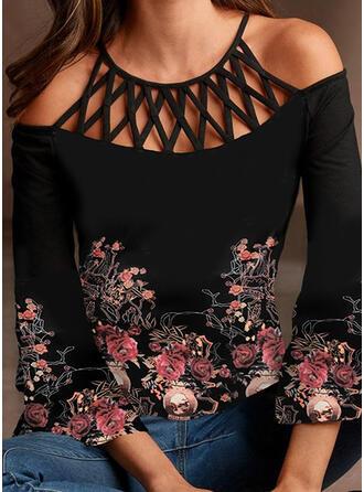 Print Bloemen Cold Shoulder 3/4 Mouwen Casual Overhemd