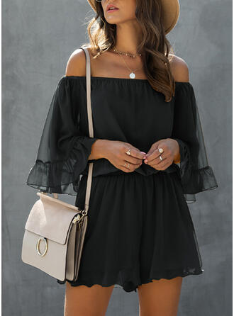 Solide Off-the-shoulder Cold Shoulder Mouw Casual Romper