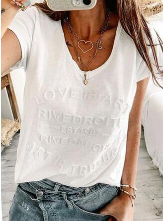 Figuur Solide V-hals Korte Mouwen T-shirts