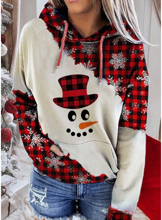 Print rooster Zakken Lange Mouwen Kerst Sweatshirt