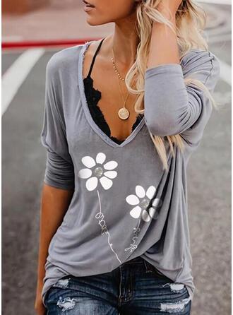 Figuur Bloemen Print V-hals Lange Mouwen T-shirts