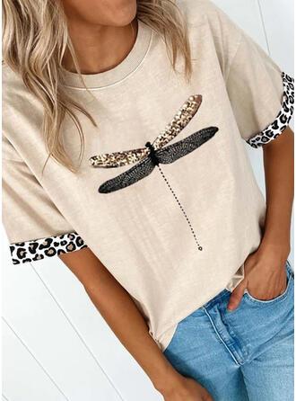 Dier Afdrukken luipaard Ronde Hals Korte Mouwen T-shirts