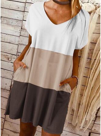 Kleurblok Korte Mouwen Shift Boven de knie Casual T-shirt Jurken