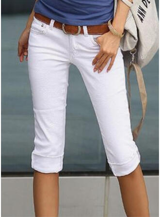 Solide Shirred Grote maat Elegant Gewoon Broeken