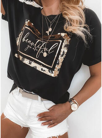Figuur Print pailletten Ronde Hals Korte Mouwen T-shirts