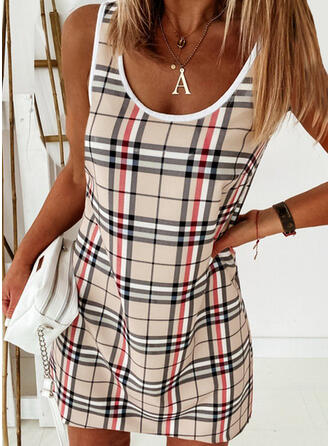 Plaid Mouwloos Shift Boven de knie Casual танк Jurken