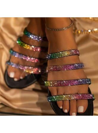 Vrouwen PU Flat Heel Sandalen Flats Peep Toe Slippers met Strass Hol-out schoenen