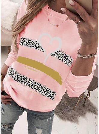 Print luipaard Hart Ronde nek Lange Mouwen Sweatshirts