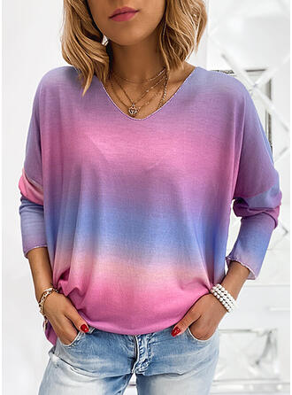 Verloop V-hals Lange Mouwen T-shirts