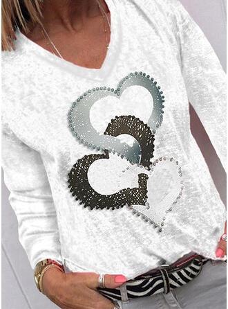 Hart Print V-hals Lange Mouwen T-shirts