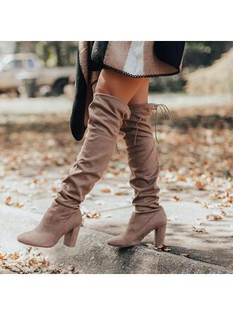 Vrouwen Suede Chunky Heel Over De Knie Laarzen Puntige teen met Vastrijgen Effen kleur schoenen