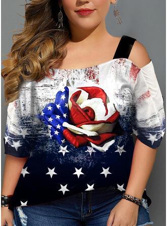 Print Koude schouder 3/4 Mouwen Casual t-shirt
