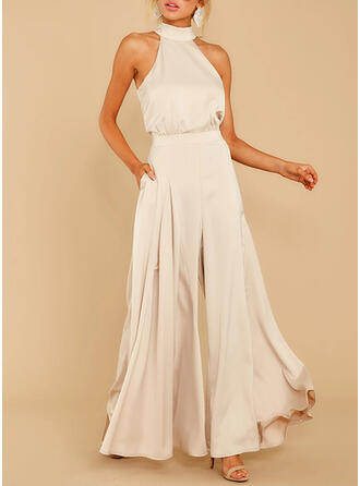 Solide Halter Mouwloos Elegant Party Jumpsuit