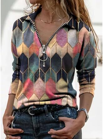Geometrisch Revers Lange Mouwen Casual Overhemd