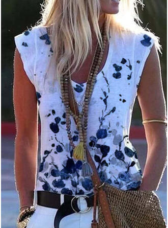 Bloemen Print V-hals Korte Mouwen T-shirts