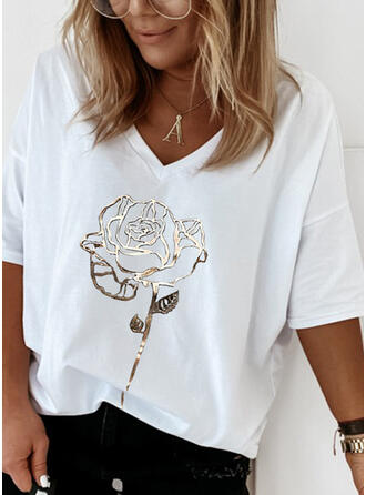 Bloemen Print V-hals 1/2 Mouwen T-shirts