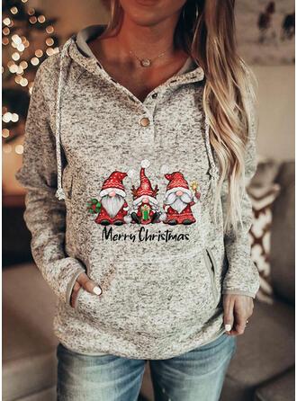 Print Figuur Zakken Lange Mouwen Kerst Sweatshirt