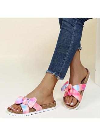 Vrouwen PU Flat Heel Sandalen Flats Peep Toe Slippers met strik Las kleur schoenen