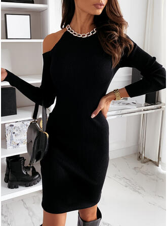Solide Lange Mouwen/Cold Shoulder Mouw Bodycon Knielengte Zwart jurkje/Elegant Jurken