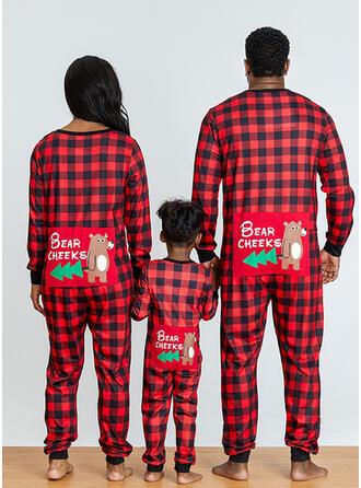 Bear Plaid Letter Print Voor Gezinnen Kerst Pyjamas