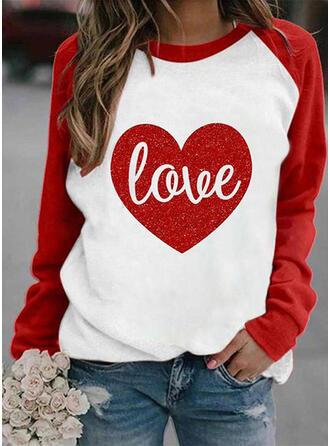Print Color Block Figuur Hart Ronde nek Lange Mouwen Sweatshirts