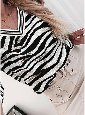 Streep V-hals Lange Mouwen T-shirts