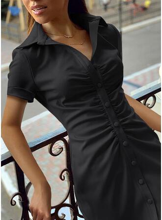 Solide Korte Mouwen Koker Boven de knie Zwart jurkje/Casual Shirt Jurken