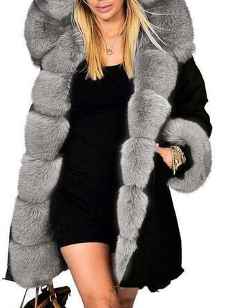 Faux Fur Lange Mouwen Effen kleur Wide-Waisted Jassen