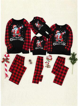 De Kerstman Plaid Letter Print Voor Gezinnen Kerst Pyjamas