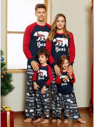 Bear Letter Print Voor Gezinnen Kerst Pyjamas
