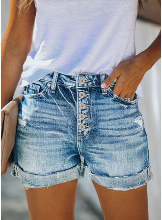 Zakken Shirred Grote maat Boven de knie Casual Sexy Jean Shorts