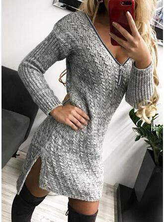 Solide Kabel-gebreid V-hals Casual Lang Sweaterjurk